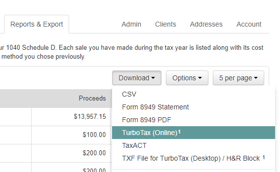 TurboTax Online now imports from Bitcoin Tax