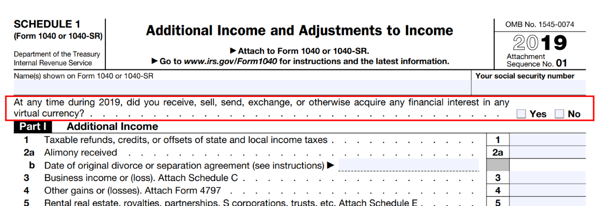 IRS 1040 Schedule 1 crypto currency question